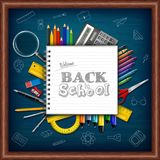 Cartoon school supplies on chalkboard background. Illustration of Cartoon school supplies on chalkboard background Royalty Free Stock Images