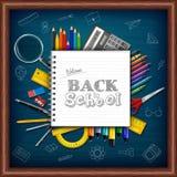 Cartoon school supplies on chalkboard background. Illustration of Cartoon school supplies on chalkboard background vector illustration