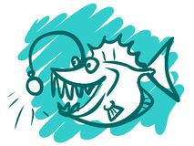 The illustration of a cartoon sea monster. Royalty Free Stock Images