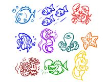 The illustration of a cartoon sea plants, fishes etc. Stock Photography