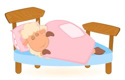 Illustration of cartoon sheep in bed Royalty Free Stock Images