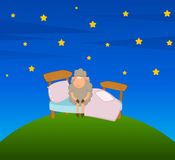 Illustration of cartoon sheep in bed Stock Images