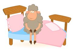 Illustration of cartoon sheep in bed Royalty Free Stock Photo