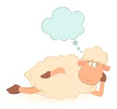 Illustration of cartoon sheep dreams Royalty Free Stock Images