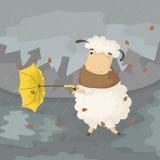 Illustration of cartoon sheep with umbrella Royalty Free Stock Photo