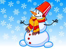 The illustration of a cartoon snowman with snowflakes Royalty Free Stock Photo