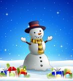 Cartoon snowman in the winter background with gift boxes. Illustration of Cartoon snowman in the winter background with gift boxes and balls Royalty Free Illustration