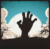 Undead Zombie Hand On Halloween Background. Illustration of a cartoon spooky zombie hand, inside night landscape background, for halloween holidays Royalty Free Stock Images