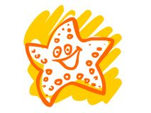 The illustration of a cartoon starfish. Royalty Free Stock Images