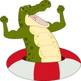 Illustration of Cartoon strong crocodile vector Stock Photo