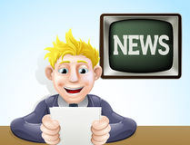 News reader cartoon. An illustration of a cartoon television news reader holding his notes in front of a screen reading news Stock Photo