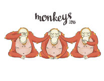 Illustration of cartoon Three monkeys - see, hear, speak no evil. Vector background Stock Photo