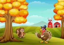 Cartoon turkey with squirrel in farm background. Illustration of Cartoon turkey with squirrel in farm background Royalty Free Stock Photos