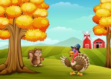 Cartoon turkey with squirrel in farm background. Illustration of Cartoon turkey with squirrel in farm background Royalty Free Stock Images