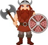 Cartoon Viking with axe and wooden shield Royalty Free Stock Image