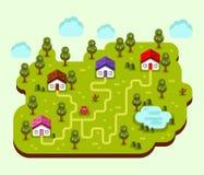 Illustration of cartoon village. Vector flat style illustration of cartoon village, trees, well, footpath and pond. Isometric 3d stock illustration Royalty Free Stock Photo