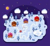 Illustration of cartoon village. Vector flat style illustration of cartoon village, trees, well, footpath and pond. Isometric 3d stock illustration. Cartoon Stock Photo