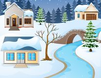 Cartoon winter rural landscape with houses and stone bridge over river. Illustration of Cartoon winter rural landscape with houses and stone bridge over river Royalty Free Stock Photos