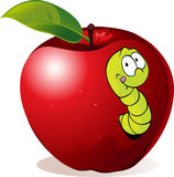Illustration of Cartoon Worm In Red Apple. Isolated on white Royalty Free Stock Images