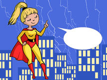 Illustration of a cartoon young blonde super girl Royalty Free Stock Photo