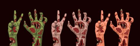 Different colors zombie hands. Illustration of cartoon zombie hands different colors on dark background royalty free illustration