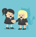 Illustration Cartoons concepts Businesswoman shaking hand  Stock Images