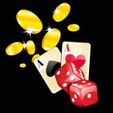 Illustration of casino cards, dice and gold coins Royalty Free Stock Photo