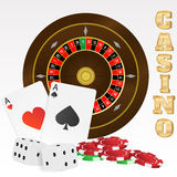 Illustration of casino elements on white background. Illustration of casino elements (cards, roulette, chips, dices) on white background Royalty Free Stock Photography