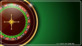 Casino roulette wheel isolated on green background. Illustration of Casino roulette wheel isolated on green background Stock Images