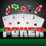 Illustration on a casino theme with poker symbols and poker cards on dark background Royalty Free Stock Photos