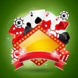 Illustration on a casino theme with ribbon. Royalty Free Stock Photography