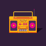 Illustration cassette tape recorder. Illustration of a vintage cassette tape recorder. Nostalgia. Music of the 80s and 90s. Poster music retro party. Background Royalty Free Stock Images