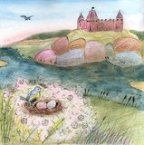 Illustration with castle on the hill and bird nest royalty free illustration