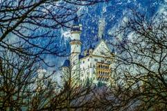 Illustration Neuschwanstein Castle. New Swanstone Castle. Fairytale palace royalty free stock image