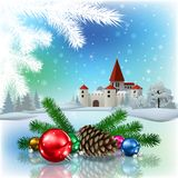 Castle and Christmas decorations Royalty Free Stock Image