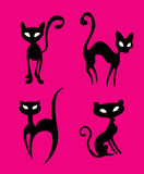 Illustration cat. Four black cats on the pink background vector illustration