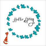 Illustration of cat and bird, frame with  text Hello spring Royalty Free Stock Photo