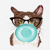 Illustration of cat with bubble um and eyeglasses Royalty Free Stock Photography