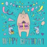 Illustration of a cat celebrating birthday Stock Photo