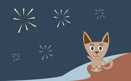 Illustration cat celebrating fireworks Stock Photo