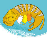 Illustration of a cat with kittens on the pillow.  Royalty Free Stock Images