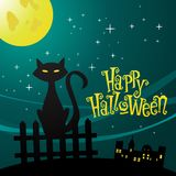Illustration of a cat in the moonlight Stock Photography