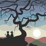 The illustration. The cat and mouse sitting on a rock near the tree and watch the sunset. The sky painted in different colors. A cat ,a mouse,a tree and a rock Stock Photo