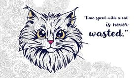 Illustration cat with quotes doodle for adult stress release coloring page. Hand drawn cat doodle for adult stress release coloring page Royalty Free Stock Photos