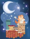 Illustration The Cat on the Roof. The cat the poet against the moon and stars costs on a roof of the house and writes verses Royalty Free Stock Images