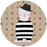 Illustration cat sailor. Cat sailor in the background hand wheels and anchors Stock Photos
