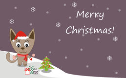 Illustration of a cat in Santa hats and Christmas tree. Merry Christmas! - Vector Stock Image