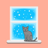 Illustration of the cat sitting on the window in winter. Stock Photos