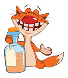 Illustration of a cat with a small bottle Royalty Free Stock Image