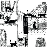 Illustration of cat in town black and white Royalty Free Stock Photo